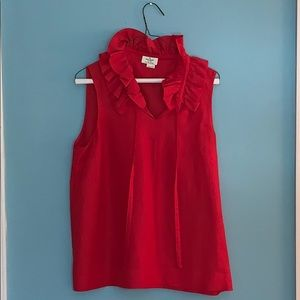 Kate spade sleeveless ruffled collar top - red